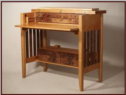 Fly Tying Desk With Red Coral Chip Inlay