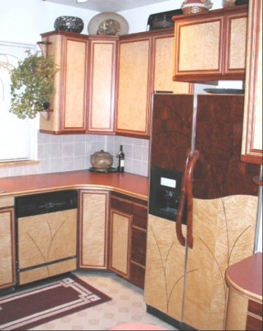 Custom designed kitchen cabinets and appliance panels by for Birdseye maple kitchen cabinets
