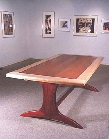 Custom Designed and Built Lacewood and Bloodwood Dining Table